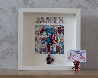 Personalised Marvel Avengers Captain America Lego Superhero Minifigures Picture Frame