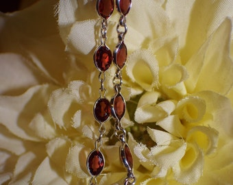 Genuine Mozambique Garnet dangle earrings in sterling silver, 10 gemstones, 7 carats, long dangle post and friction, January birthstone