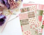 Rustic Floral Vertical Weekly Kit-- Matte Planner Stickers