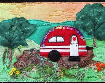 "Red Mini Glamper Quilt, Miniature Art Quilt, Whimsical Camper Quilt, Shelf Art, Glamper Decor, Home Decor, 7""x 5"""