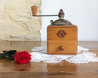French Manual Coffee Grinder. Vintage Paris SURM Coffee Mill French Farmhouse Kitchen Décor