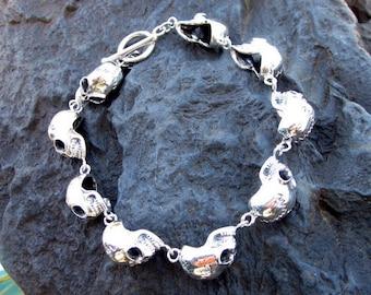 Sterling Silver Skull Bracelet - #577