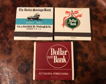 Lot of Three Dollar Savings Bank PIttsburgh PA 30 Strike Matchbooks Complete With All Matches Front and Rear Strikes
