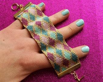 Peyote Stitch Cuff Bracelet PDF Pattern - Colourful Argyle Pattern for Pink, Teal, Turquoise & Gold Miyuki Bracelet - Beadwork Beading