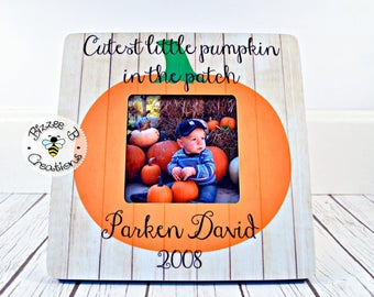 ON SALE Halloween Picture Frame, Baby's Frist Halloween, Halloween Memory Frame, The Cutest Little Pumpkin In The Patch, Halloween Picture G