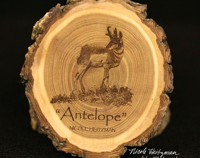 Christmas Gift for him Antelope Art Father's Day Gift for men wood Antelope Coaster Man Cave Wildlife Art Cabin Lodge Decor Pronghorn Art