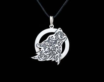 Ethnic Wolf Pendant, sterling silver, handmade ..... howling wolf necklace
