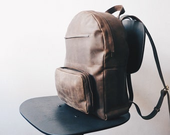 Handmade BROWN LEATHER Backpack / Rucksack on Snap buttons from cowhide leather/ Simple brown leather Hipster backpack with one front pocket