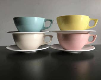 Pastel Stetson Dinnerware / Set of Four Cups and Saucers / Melamine Coffee Cups and Saucers