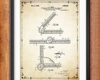 Architectural Wall Decor - Gift for Architect Drafting Tool - Ruler Patent Print - Vintage Architect Tool - Technical Drawing - 1367