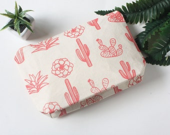Pink Succulent Screen Printed Makeup Bag, Cactus Canvas Pouch, Pink Zipper Cactus Cosmetic Bag, art supply pouch