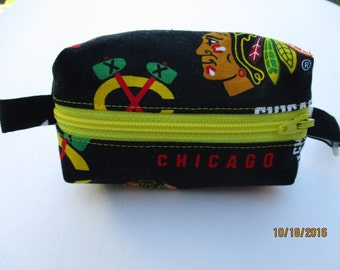 Chicago Blackhawks Zipper Pouch, Coin purse, ID wallet, gift idea, stocking stuffer