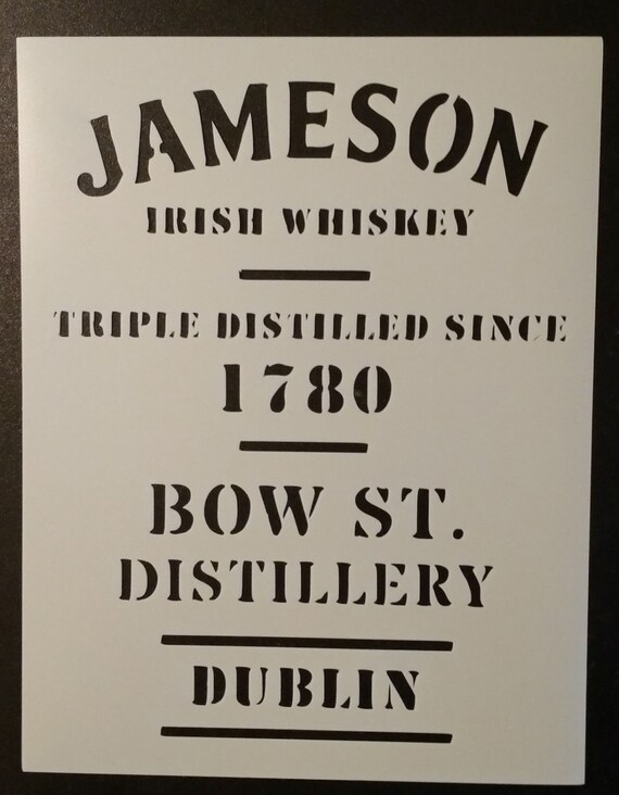 Jameson Irish Whiskey Dublin Custom Stencil Fast Free For Label Template
