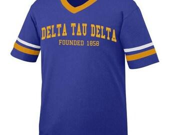 Delta Tau Delta Founders Jersey - Purple/Gold/White Jersey (gold print)
