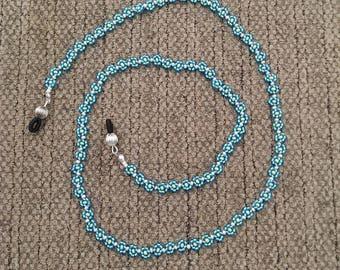 Beaded Aqua Blue Daisy Chain Eyeglass Holder Strap, Glasses Retainer