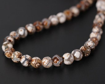 Brown&White Football Pattern Tibetan Agate Dzi Faceted Round Beads,Smooth Tibetan Dzi Agate Stone Loose beads Jewelry