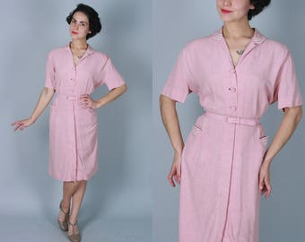 Vintage 1940s Dress   Dusty Rose Day Dress with White Piping and Original Belt   Large