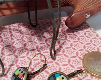 Test pattern TV earrings Minis