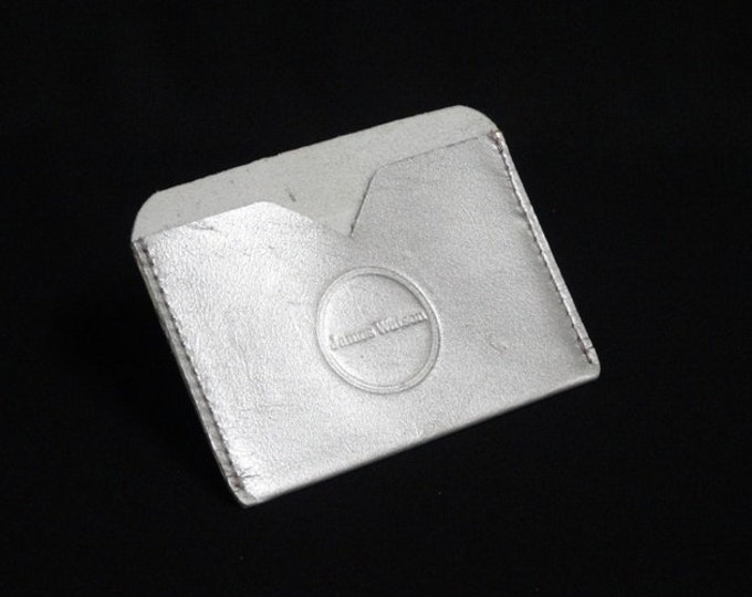Pocket Wallet - Silver - Kangaroo leather with RFID credit card blocking - Handmade - James Watson
