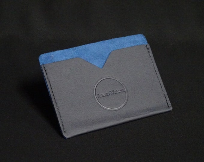 Pocket Wallet - Blue Two-Tone - Kangaroo leather with RFID credit card blocking - Handmade - James Watson