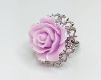 Lilac Rose Ring Coral Wedding Party Gift Lilac Adjustable Ring Light Purple Bridesmaid Gift Resin Rose Wedding Jewellery Summer Wedding Gift