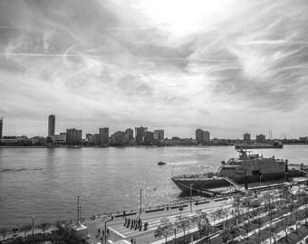 USS Detroit Commissioning Celebration on the Detroit River Photograph  Print 12x20 Black and White