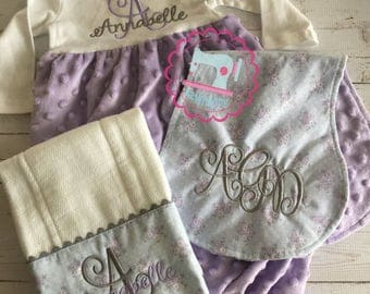 Personalized Baby Girl Set, Baby shower gift set, purple minky dot gown set, monogrammed baby set, coming-home set, new baby gift set
