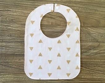 Feeding Bib, Baby Bib - Gold Triangles