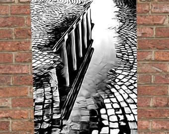 Puddle Reflection Digital Painting Poster Gilcée Print - Cityscape - Digital Illustration - Wall art