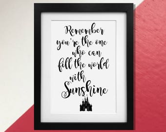 """Disney's Snow White """"Fill the World with Sunshine"""" Quote Print Poster"""