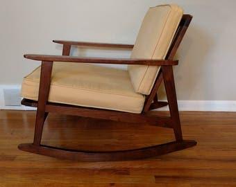 Mid Century Danish Modern Rocking Chair, Made in Yugoslavia