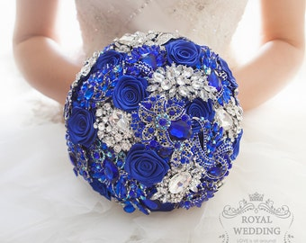 Royal Blue Brooch Bouquet Bridal bouquet Wedding Bouquet Bridesmaids Bouquet Jewelry Bouquet Blue and Silver and Blue Bouquet Custom Bouquet