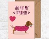 Dachshund Birthday Card, Dachshund Anniversary Card, Sausage Dog Birthday Card, Birthday Card Boyfriend, Birthday Card girlfriend