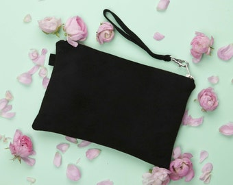 Black Suede Clutch // Evening Clutch // Statement Bag // Leather Bag // Genuine Suede Bag // Clutch Bag // Suede Clutch