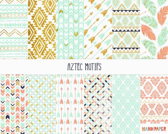 "Digital scrapbooking paper:""Aztec motifs"", printable ..."