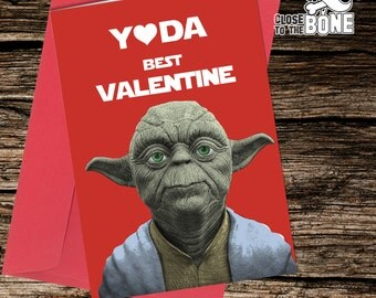 No19 YODA Star Wars VALENTINES Card Adult Girlfriend Boyfriend HUMOUR Funny Rude Humorous Greetings Card By Close to the Bone