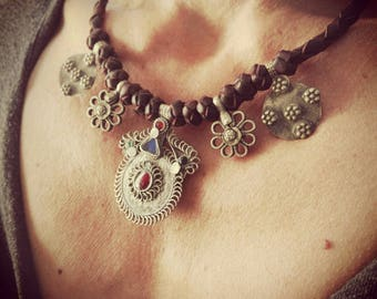 NECKLACE leather KUCHI, vintage, hippie, tribal