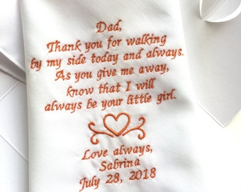Father Of Bride Gifts From Bride-Embroidery Wedding Poem-Golden Orange Thread-Free Gift Box-Code:1325