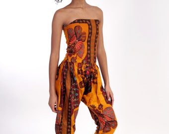 Laika  African Dashiki Jumpsuit Overalls with scarf