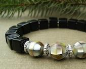 Modern Black Bracelet, Black Onyx Cubes, Vintage Faceted Shell Beads, Sterling Silver, Elegant, Sophisticated, Geometric, Stretch, Gift Idea