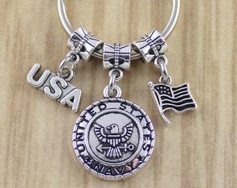 US Navy Keychain//Navy Military Key Ring//US Navy Gifts//Veteran Gift//Gift For Veteran//Mens Keychain//United States Navy Key Ring//©SRA