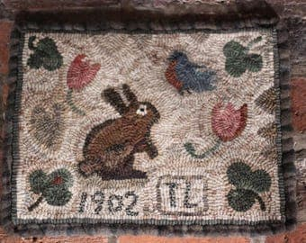 Clover. Rug Hooking pattern on linen or paper.