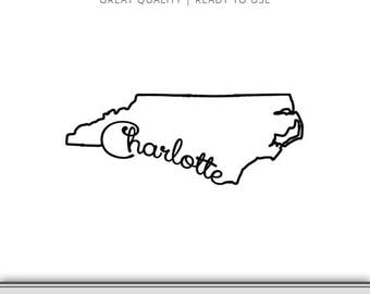 Charlotte North Carolina State Outline - Charlotte SVG - North Carolina DXF - North Carolina SVG - Charlotte Cut File Instant Download!