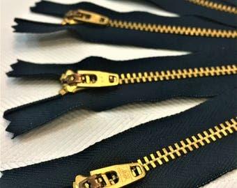 """YKK Navy Blue (560) #4.5 Brass Zipper 3"""" 4"""" 5"""" 6"""" 7"""" 8"""" 9"""" Closed Bottom (5 Pack)"""