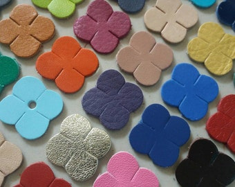 25 mm. (2.5 cm.) wide, 50 pcs., Leather Flowers, Leather Flowers Die Cut, Mixed Colors, for DIY Projects.