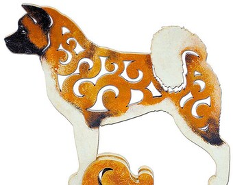 Statuette American Akita figurine made of wood, hand-painted with acrylic and metallic paint
