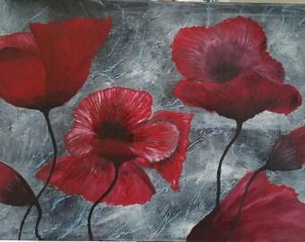 Contemporary, Original, Handmade, Flowers, Poppies, Canvas, Oil painting, Home Decor, Wall Decor, Wall Art, Mixed Media, Living Room Decor,