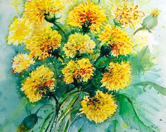 Yellow dandelions original watercolor painting Yellow flower nature art botanical art Yellow dandelion flower painting Original artwork