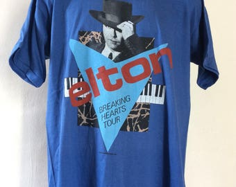 Vtg 1984 Elton John Breaking Hearts Tour Concert T-Shirt Blue L/XL 80s Classic Rock Pop