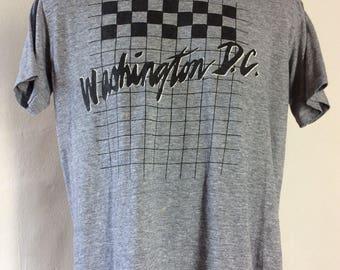 Vtg 80s Washington DC Souvenir T-Shirt Heather Gray XL Thin 50/50